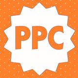 Схематическое сочинительство руки показывая Ppc Рекламодателя фото дела showcasing оплачивают гонорар каждый раз одно из их объяв иллюстрация штока