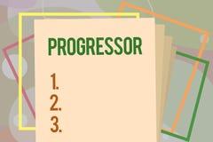 Схематическое сочинительство руки показывая Progressor Персона текста фото дела которая делает прогресс или облегчает его в други иллюстрация вектора