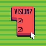 Схематическое сочинительство руки показывая Visionquestion Обязательство компании текста фото дела описывая будущее реалистическо иллюстрация штока