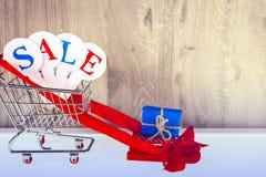 Схематическое фото продаж рождества или покупок подарка Продажа слова стоковое изображение rf