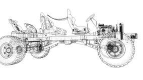 Схематическое шасси большого SUV с приводом на четыре колеса Двигать камеру вдоль модели, пядь между сток-видео