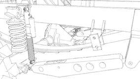 Схематическое шасси большого SUV с приводом на четыре колеса Двигать камеру вдоль модели, пядь между акции видеоматериалы