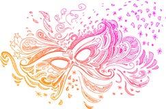 Схематичная маска масленицы doodle Стоковые Фотографии RF