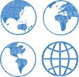 Схематичное голубой избитой фразы глобуса установленное иллюстрация штока