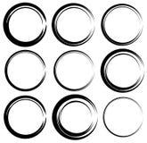 Схематичные круги с нарисованным вручную влиянием Установите 9 grungy кругов Стоковые Изображения RF