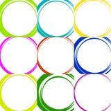 Схематичные круги с нарисованным вручную влиянием Установите 9 grungy кругов Стоковые Изображения