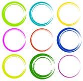 Схематичные круги с нарисованным вручную влиянием Установите 9 grungy кругов Стоковое Изображение RF