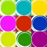 Схематичные круги с нарисованным вручную влиянием Установите 9 grungy кругов иллюстрация штока