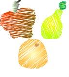 Схематичные плодоовощи - Яблоко, груша, апельсин иллюстрация штока