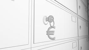 Схематичные сейфы банка и ключ с евро подписывают keychain перевод 3d Стоковое фото RF