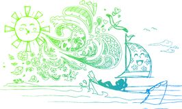 Схематичные doodles: летний отпуск Стоковая Фотография RF