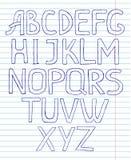 Схематичный алфавит на предпосылке тетради с прописями Стоковое Фото