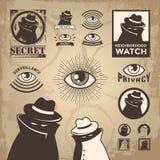Схематичный преступник, агент наблюдения, и шпионка уединения Стоковая Фотография