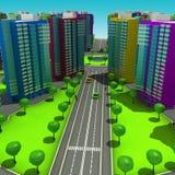Схема городского эпизода с таким же типом строить типичные многоэтажные здания иллюстрация 3d Иллюстрация штока