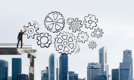 Схема сыгранности чертежа бизнесмена схематическая Стоковая Фотография RF