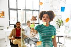 Схема чертежа женщины для творческой команды на офисе Стоковые Фото