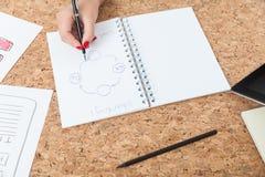 Схема чертежа женщины на бумаге Стоковое фото RF