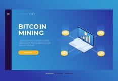 Схема bitcoin возникновения Минирование Cryptocurrency на компьтер-книжке бесплатная иллюстрация