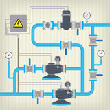 Схема Infographic с жидкостью, цистерной с водой вектор Стоковые Изображения
