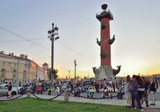Сход велосипедистов на вертеле острова Vasilievsky в Стоковое Изображение RF