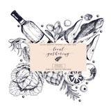Сходы знамени вектора нарисованные рукой местные Состав рамки Вино, морепродукты, сыр, встреча цыпленка, капуста овощей Стоковое Фото