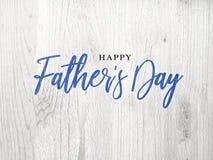 Сценарий каллиграфии счастливого дня ` s отца голубой над белой древесиной Стоковые Изображения