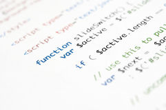 Сценарий HTML Стоковое Фото