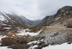 Сценарная долина Geiranger, гора Dalsnibba, ландшафт Норвегия Стоковая Фотография RF