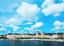 Сценарная панорама лета старого городка Стокгольма, Швеции Стоковая Фотография