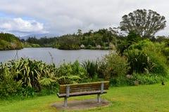 Сценарное озеро Mangamahoe и свой сочный банк в северном острове Стоковая Фотография