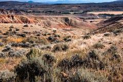 Сценарные неплодородные почвы Вайоминга около Dubois стоковая фотография