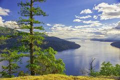 Сценарный взгляд залива клена в острове ванкувер, Британской Колумбии стоковая фотография rf