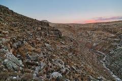 Сценарный взгляд каньона в пустыня Негев Стоковое Изображение