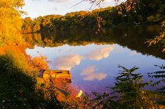 Сценарный взгляд красочного речного берега осенью стоковое изображение rf