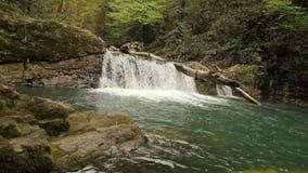 Сценарный взгляд реки и речных порогов горы с водопадами в лесе акции видеоматериалы