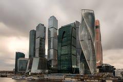 Сценарный взгляд с небоскребами бушеля International города Москвы Стоковое Изображение
