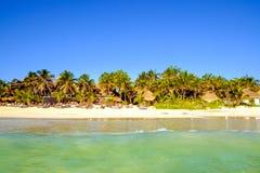 Сценарный взгляд ландшафта пляжа лета с пальмами Стоковое Изображение