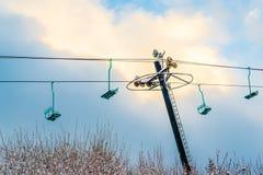 Сценарный взгляд зимы machinein лыжи, Вашингтона Стоковые Фотографии RF