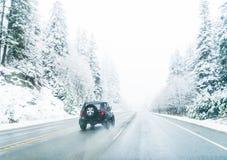 Сценарный взгляд малых людей идя в гору снега, Вашингтон, Стоковые Изображения