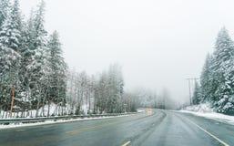 Сценарный взгляд малых людей идя в гору снега, Вашингтон, Стоковые Изображения RF