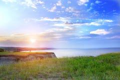Сценарный взгляд от холмов к морю стоковая фотография rf