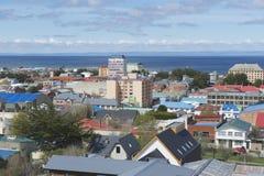 Сценарный взгляд пролива в аренах Punta, Чили арен и Magellan Punta стоковое фото