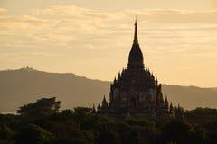 Сценарный взгляд старого виска Bagan во время золотого часа Стоковая Фотография RF