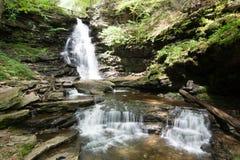Сценарный водопад в парке штата Ricketts Глена в Poconos в p Стоковое Фото