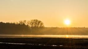 Сценарный восход солнца над лесом на пруде в черноте и апельсине стоковые изображения