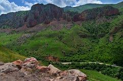 Сценарный монастырь Novarank в Армении Красивый ландшафт горы, Армения стоковое изображение rf