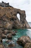 Сценарный одичалый взгляд побережья вулканической породы и естественных бассейнов Стоковое фото RF
