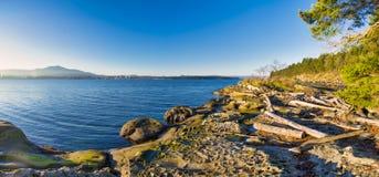 Сценарный панорамный взгляд океана и пункта Джека и четырехрядные ячмени паркуют Стоковое фото RF