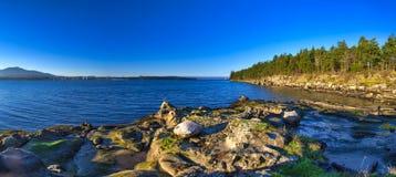 Сценарный панорамный взгляд океана и пункта Джека и четырехрядные ячмени паркуют Стоковые Изображения RF