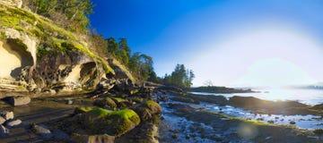 Сценарный панорамный взгляд океана и пункта Джека и четырехрядные ячмени паркуют Стоковые Фотографии RF